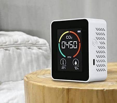 Air Quality Monitor Indoor, CO2 Detector, 3 in 1 Air Pollution CO2 Detector, Temperature, Humidity Professional Sensor Real-Time Readings, CO2 Alarm Meter