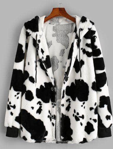 ZAFUL Hooded Cow Pattern Fluffy Jacket