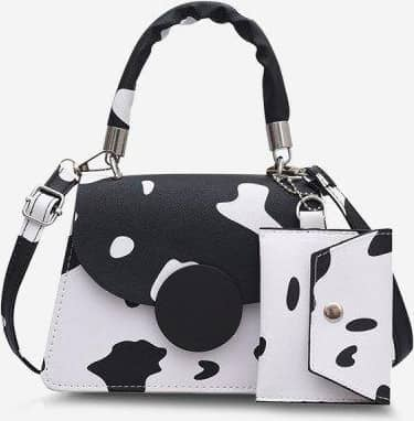 Cow Print Top Handle Crossbody Bag With Pouch