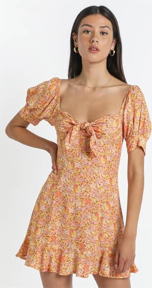 Showpo Rosa Dress in Blushing Floral - 14 (XL) Casual Outfits