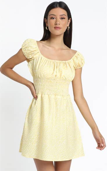 Showpo Hilary Dress in Yellow Floral - 10 (M) Casual Outfits