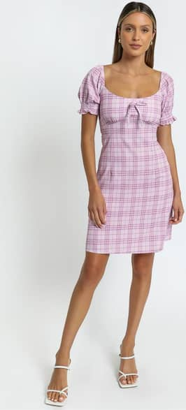 Showpo Dahlia Dress in Pink Check - 8 (S) Casual Outfits