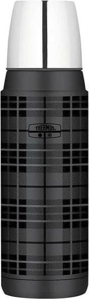 Thermos 470ml Beverage Bottle Drink Insulated Stainless Steel Flask Grey Plaid