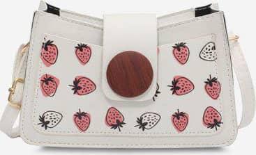 Strawberry Print Big Round Button Shoulder Bag