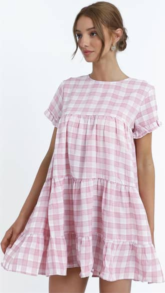 Showpo Elise Dress in Pink Check - 8 (S) Casual Outfits