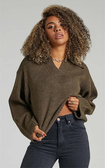 Showpo Lila Collared Knit Jumper in Moss Green - 08 Jumpers