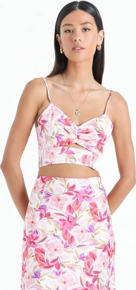 Showpo Atherton Top in Eventful Bloom - 14 (XL) Floral Tops