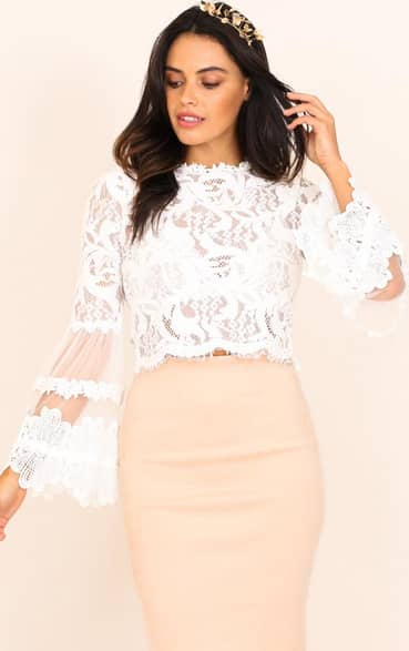 Showpo Free Spirit top in white lace - 10 (M) Long Sleeve size 10