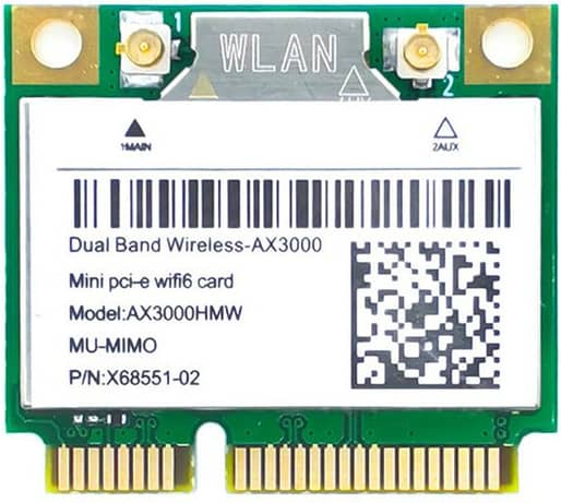 3000M PCIe WiFi 6 Card Internal Wireless Wifi Adapter Card with bluetooth5.1 Dual-band 5G Intel AX200 Chip MU-MIMO Netwo