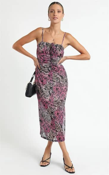 Showpo Twiin - Sabine Midi Dress in Multi - XS Going Out Outfits