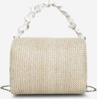Ruched Handle Chain Woven Crossbody Bag