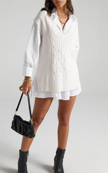 Showpo Cadha Knit Vest in Cream - 12 Oversized Jumpers