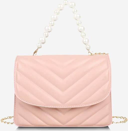 Zigzag-Quilted Faux Pearl Flap Crossbody Bag