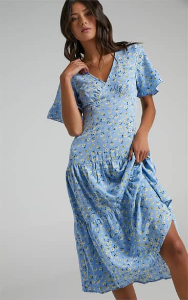 Showpo Oklahoma Dress in Blue Floral - 08 Casual Outfits