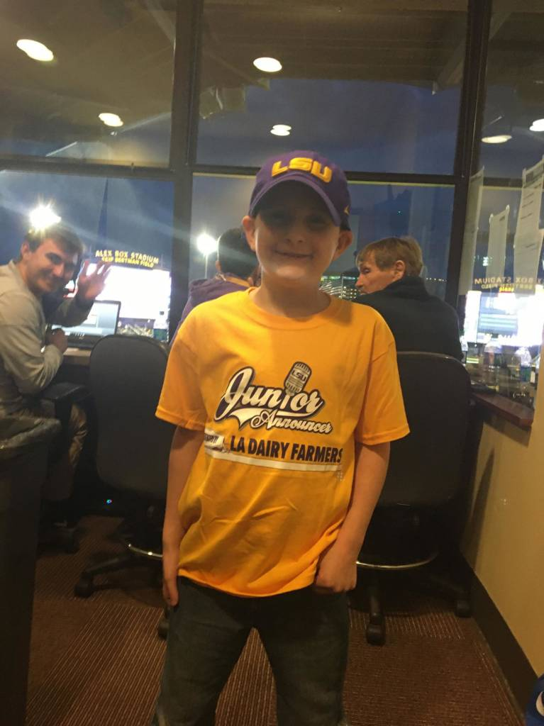 Saturday, Feb. 15 vs. Indiana, Sawyer Taylor, 7 years old from Albany, La.