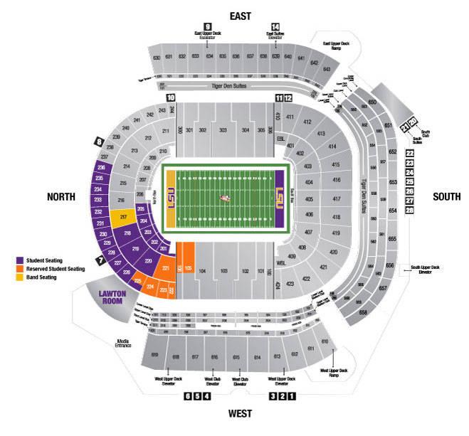 2014 Tiger Stadium Seating Chart - LSU Students