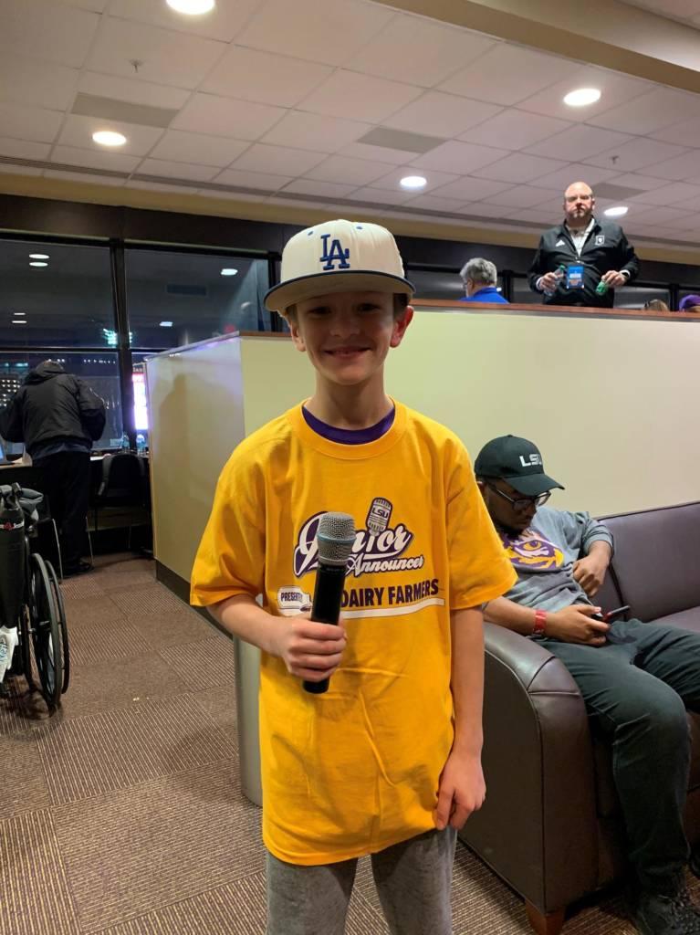 Friday, Feb. 14 vs. Indiana, Parker Staniford, 9 years old, Shreveport, La.