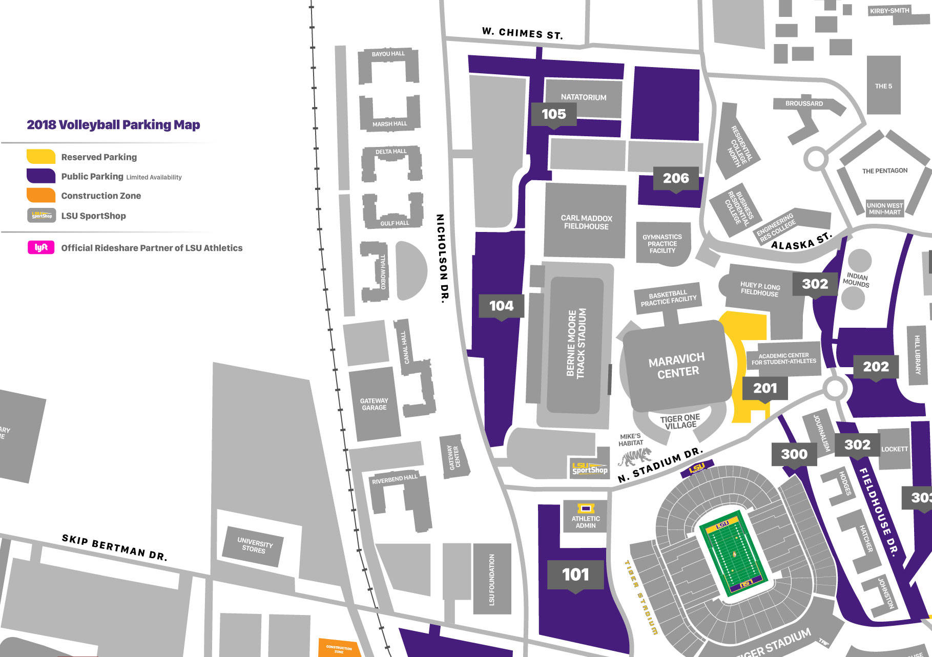 LSU Volleyball Parking Map