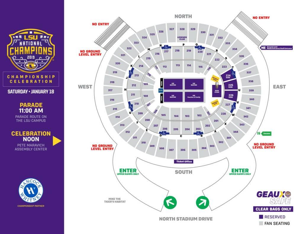 2019 National Championship celebration - arena diagram seating