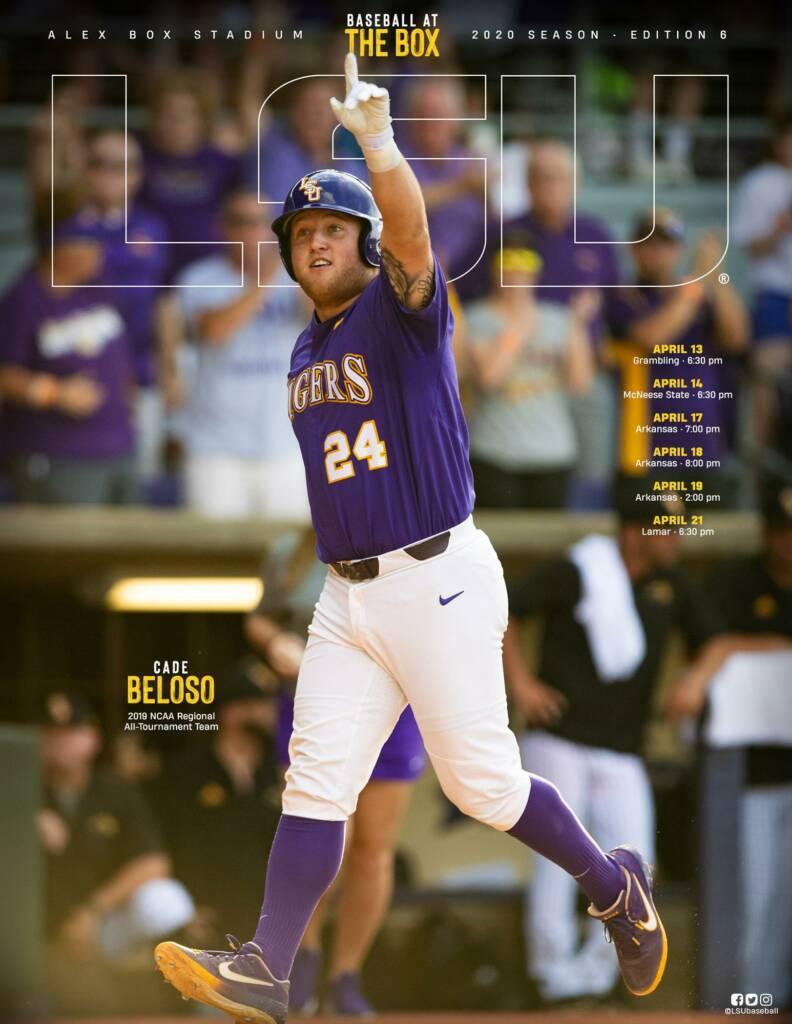 2020 LSU Baseball Game Program Cover - Cade Beloso
