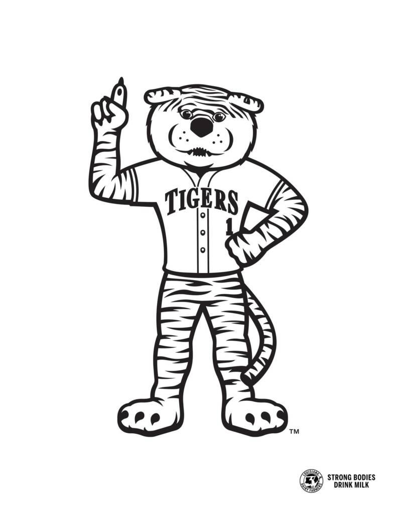 MIke the Tiger Baseball - Coloring Sheet