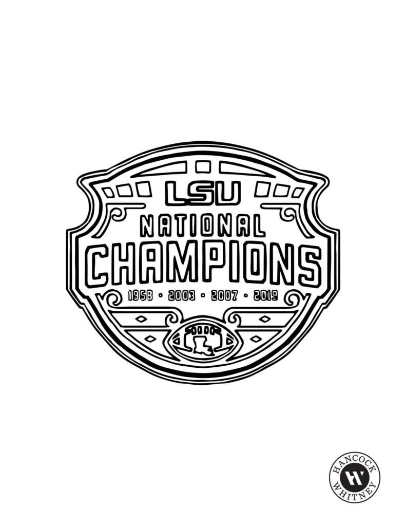 2019 LSU Football National Championship LogoMIke the Tiger Golf - Coloring Sheet