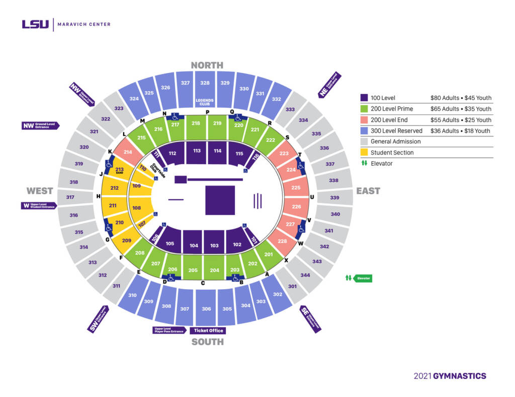 2021 LSU Gymnastics Season Ticket Pricing and Seating Chart