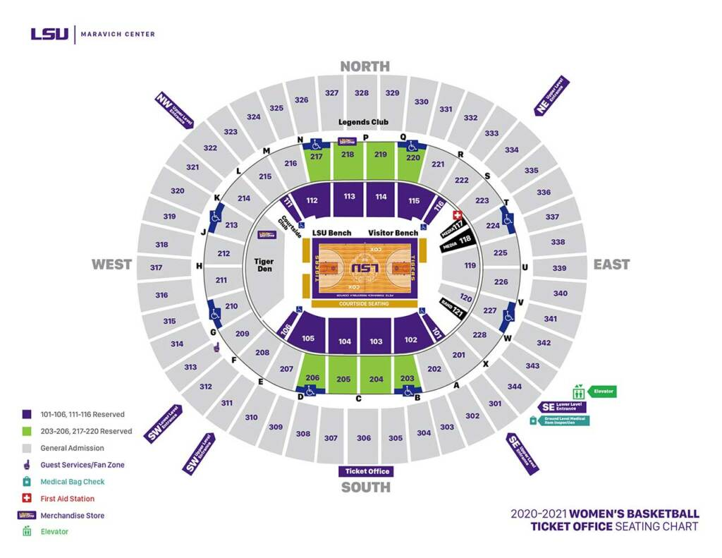 2020-21 LSU Womens Basketball Seating Chart