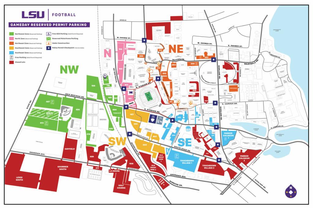2020 LSU Football Parking Map - Sept 22 2020