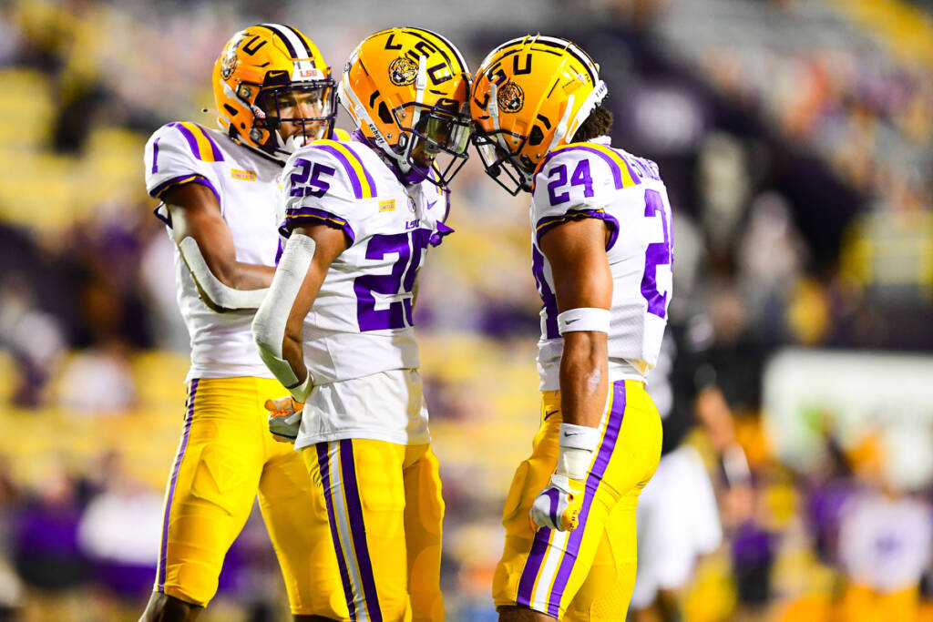 Derek Stingley Jr. and Cordale Flott during the first half of a game between LSU and South Carolina at Tiger Stadium in Baton Rouge, Louisiana on Saturday, Oct. 24, 2020.(Photo by: MG Miller / LSU Athletics)