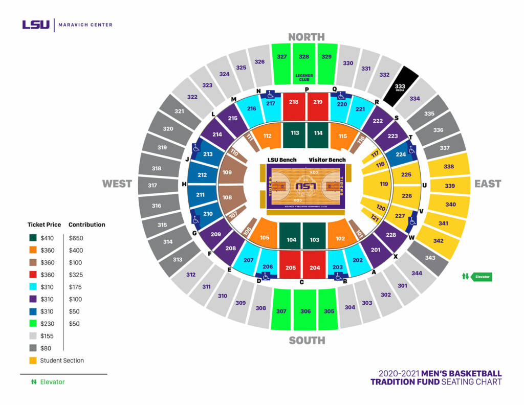 2020-21 Maravich Center Tradition Fund Seating Chart - Men's Basketball