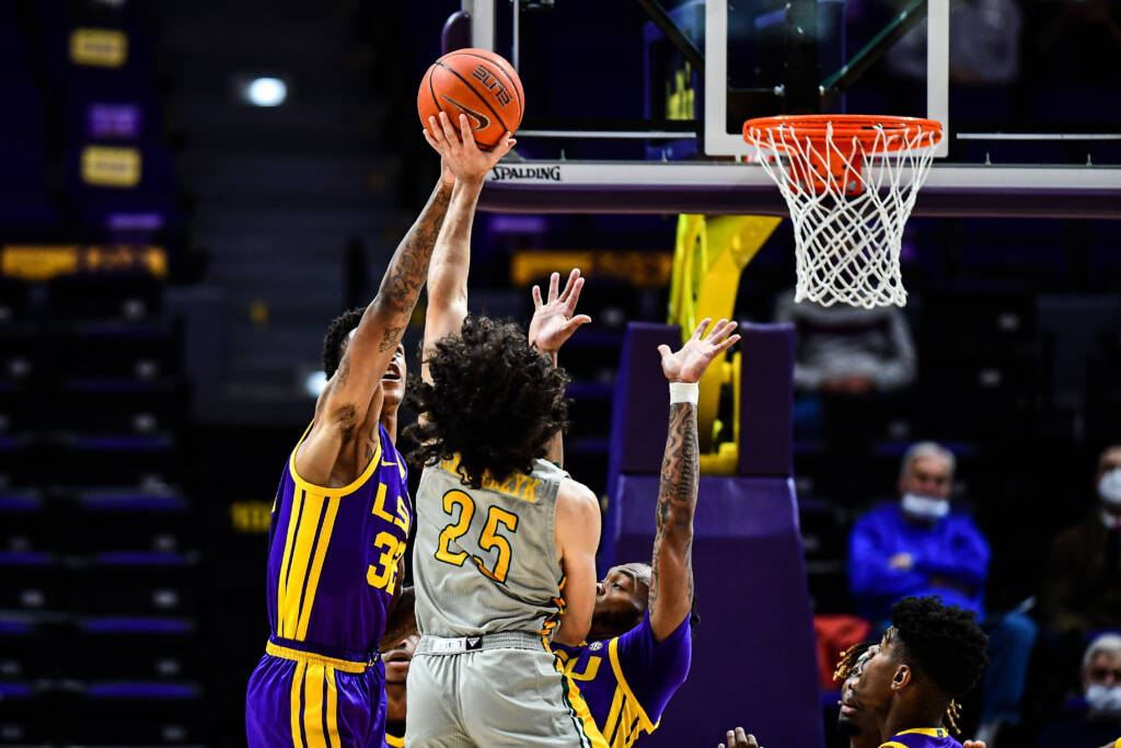 Shareef O'Neal of the LSU Tigers during a game against the Southeastern Lions at PMAC on November 30, 2020 in Baton Rouge, Louisiana.