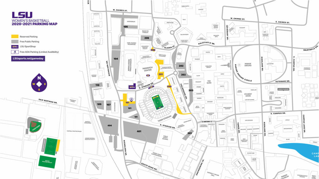 2020-21 LSU Womens Basketball Parking Map