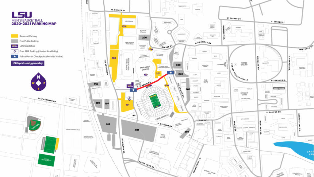 2020-21 LSU Men's Basketball Parking Map