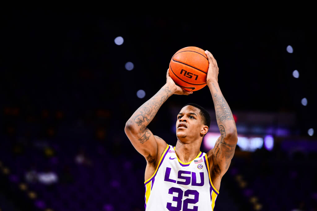 Shareef O'Neal of the LSU Tigers during a game against the Louisiana Tech Bulldogs at Pete Maravich Assembly Center on December 6, 2020 in Baton Rouge, Louisiana.