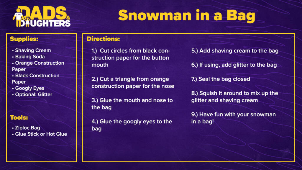 Dads and Daughters - Snowman in a Bag