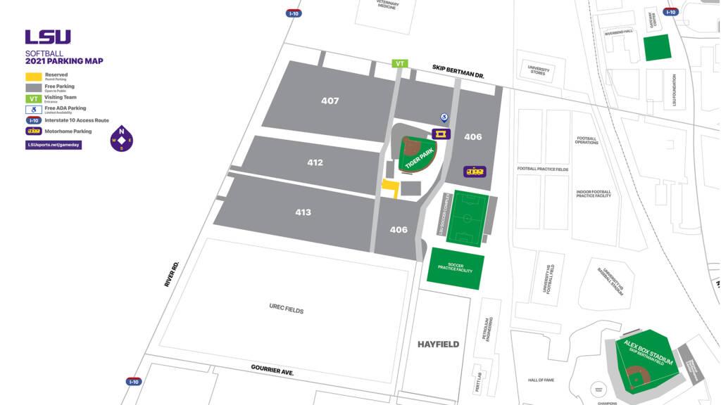 2021 Tiger Park - LSU Softball Parking Map