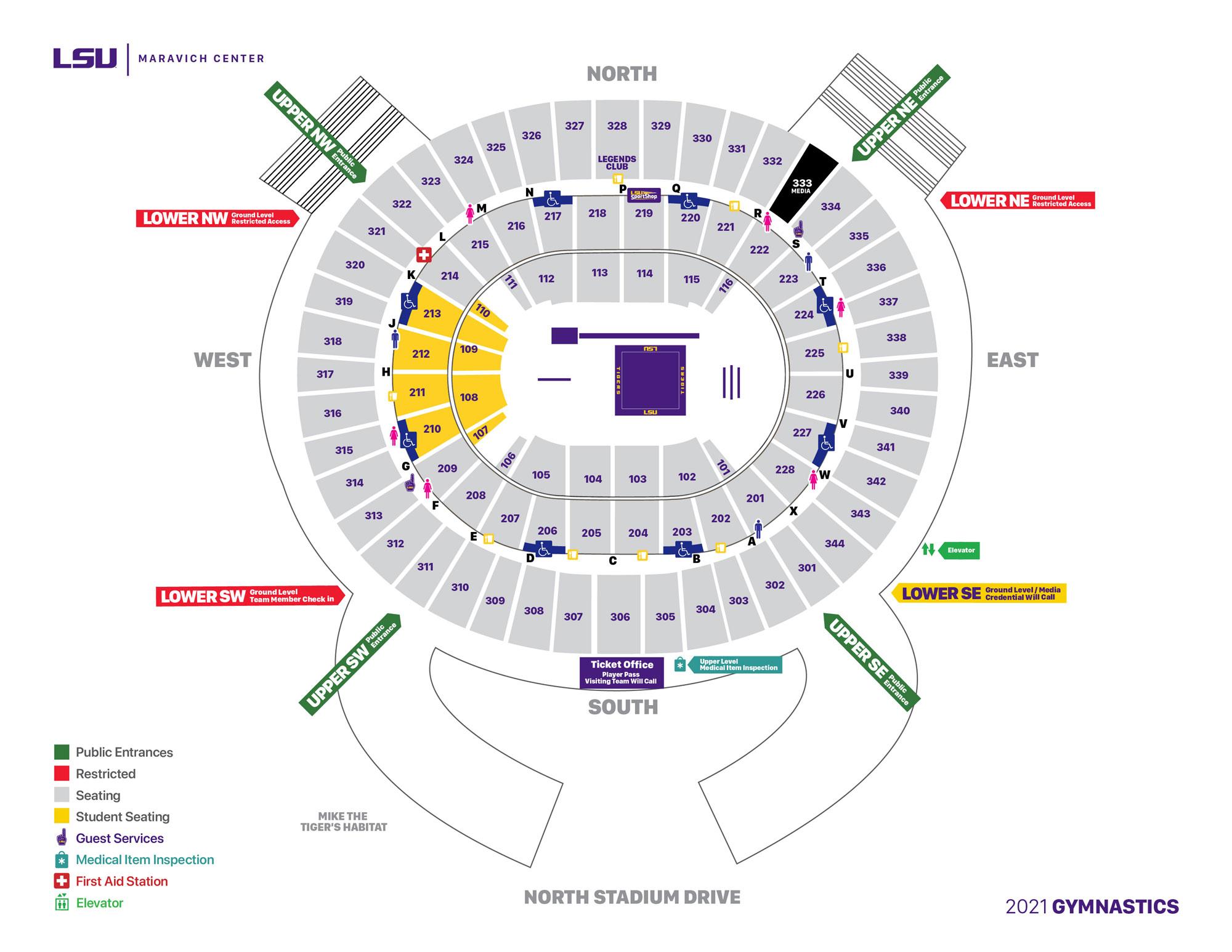 2021 LSU Gymnastics - Maravich Center Seating Chart