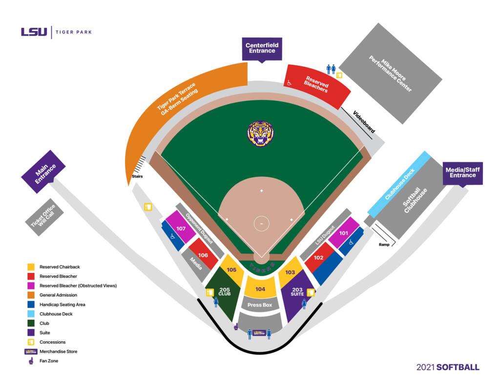 2021 Tiger Park - LSU Softball Seating Chart