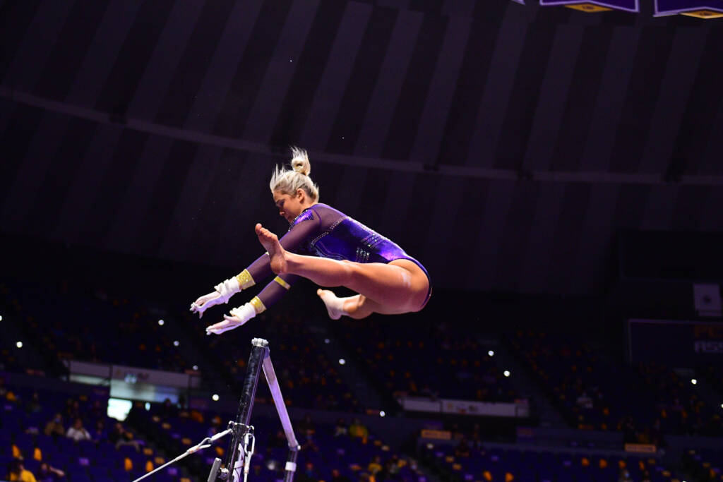 Olivia Dunne during a match against the Georgia Bulldogs at PMAC on 1 22, 2021 in Baton Rouge, Louisiana. Photo by: Brandon Gallego