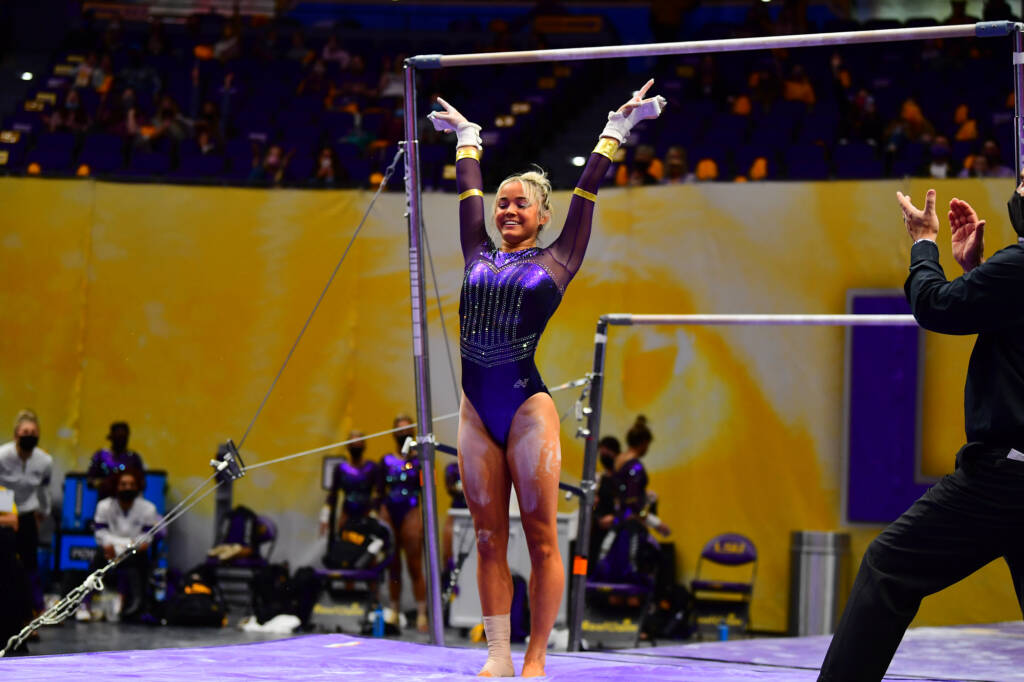Olivia Dunne during a match against the Georgia Bulldogs at PMAC on 1 22, 2021 in Baton Rouge, Louisiana. Photo by: MG Miller