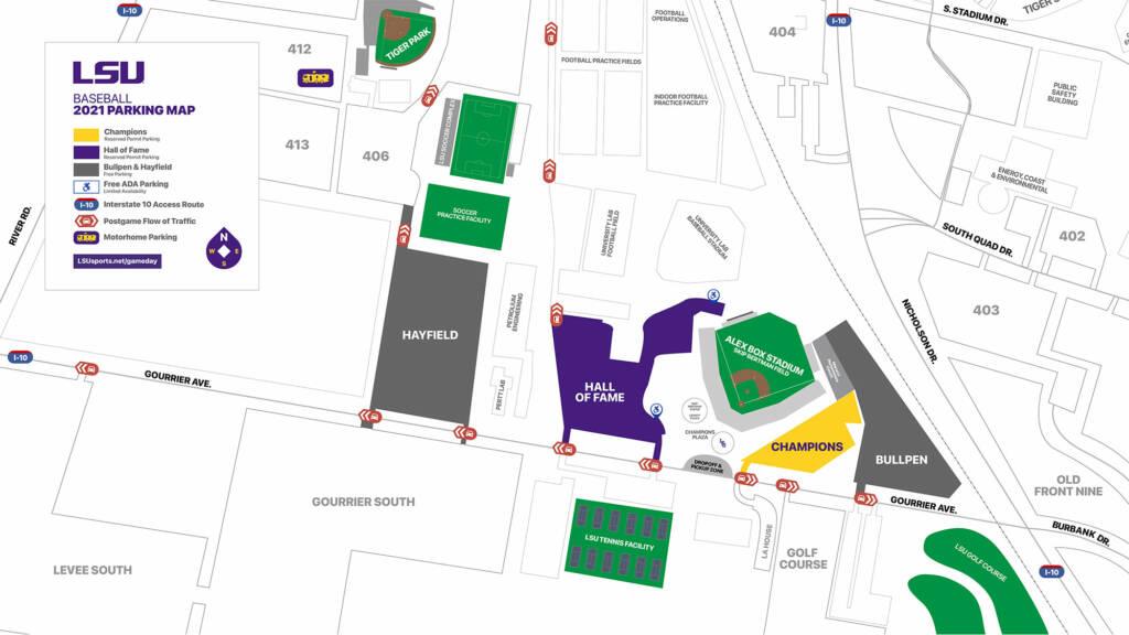2021 LSU Baseball Parking Map - Alex Box Stadium
