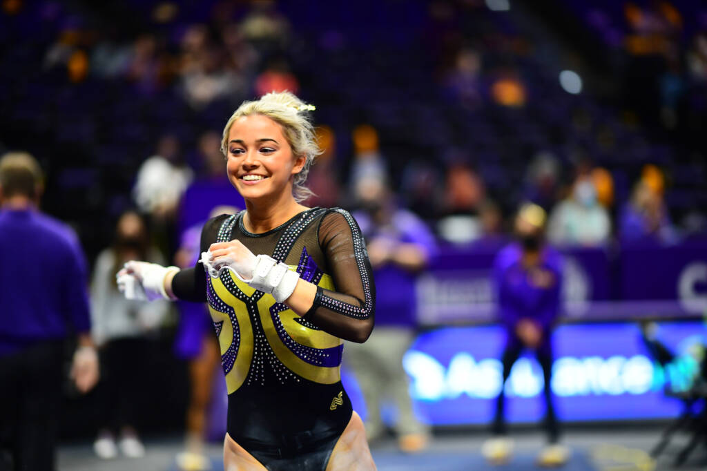 Olivia Dunne during a match against the Arkansas Razorbacks at PMAC on 1 8, 2021 in Baton Rouge, Louisiana. Photo by: Brandon Gallego