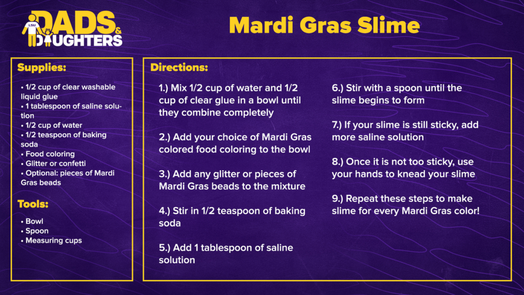Mardi Gras Slime - dads and daughters