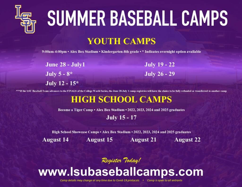 Baseball 2021 Summer Camp Flyer