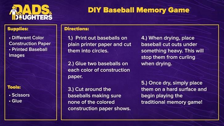Dads and Daughters - Baseball Memory Game