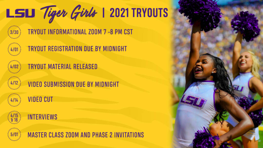 2021-22 LSU Tiger Girls Auditions Tryouts