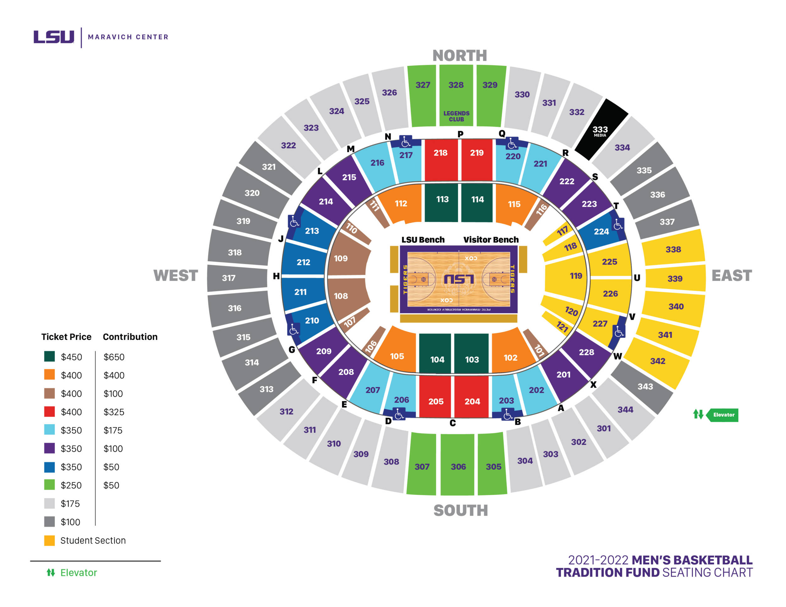 LSU Men's Basketball Tradition Fund Seating Chart - Maravich Center