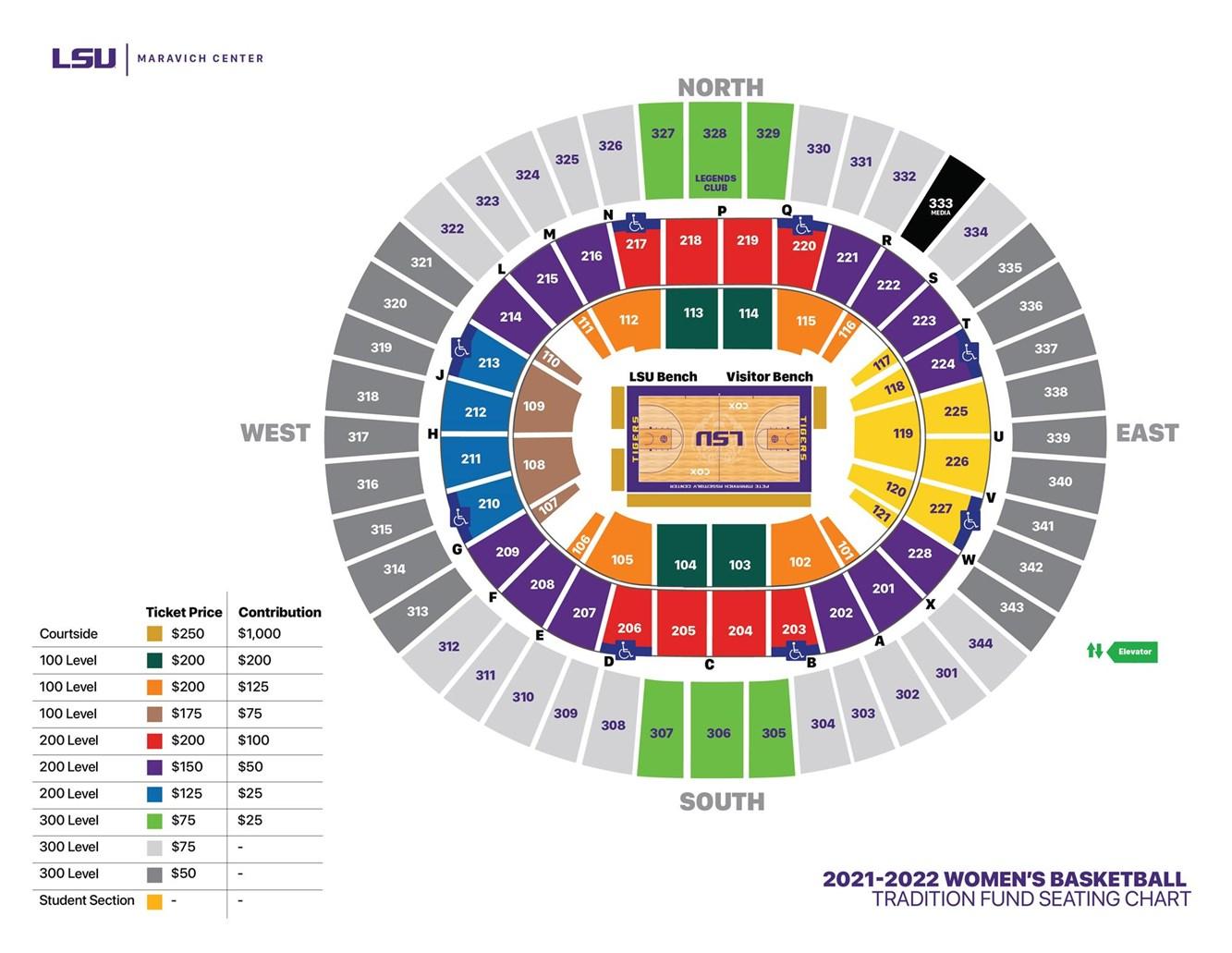 LSU Women's Basketball Tradition Fund Seating Chart - Maravich Center