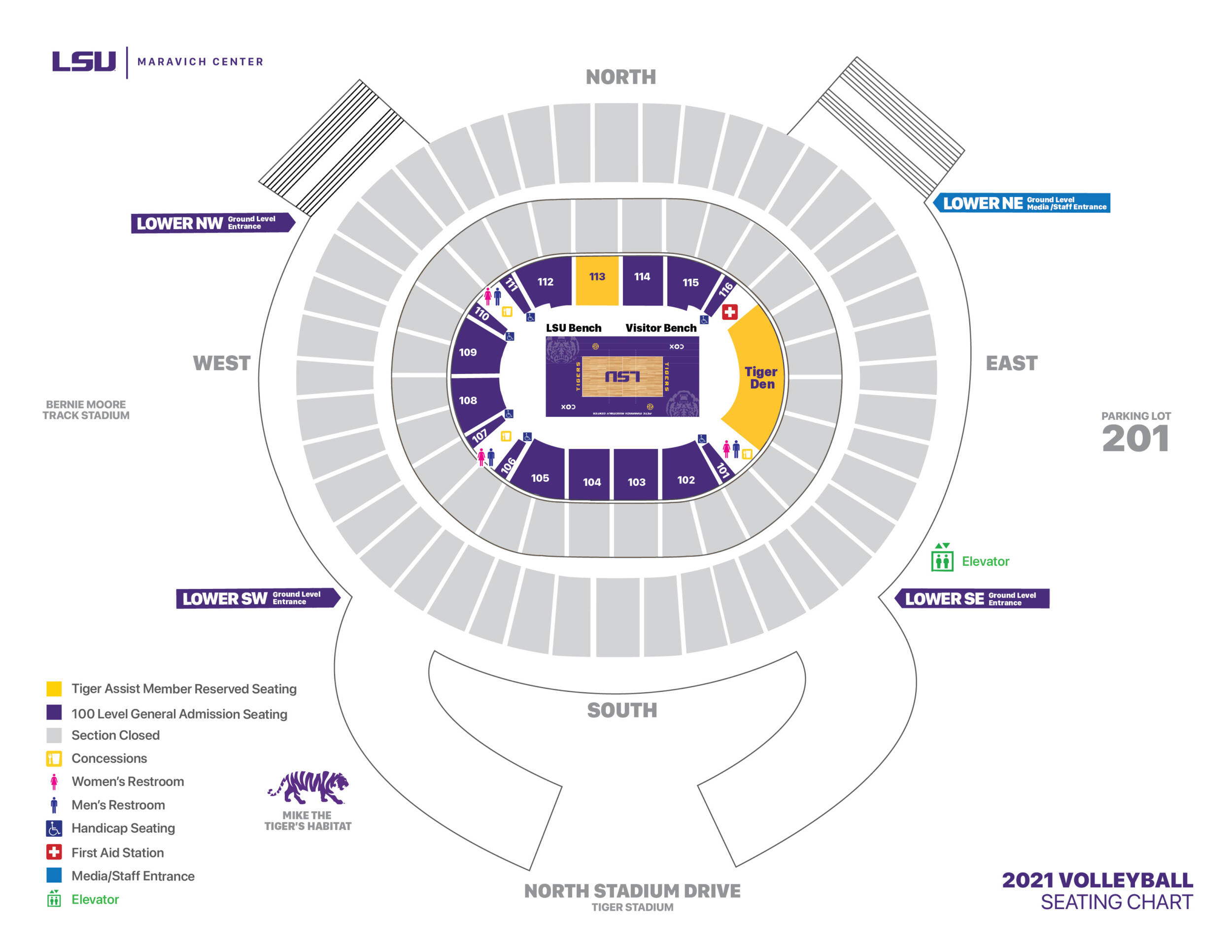 2021 LSU Volleyball - Maravich Center Seating Chart